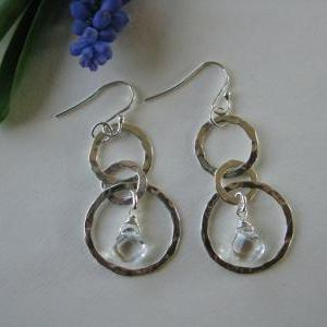 Silver hoop and crystal earrings, h..