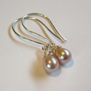 Pink pearl earrings, pearl dangle e..