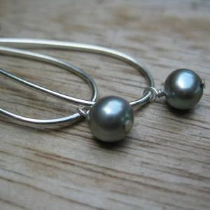 Grey pearl earrings, sterling silve..