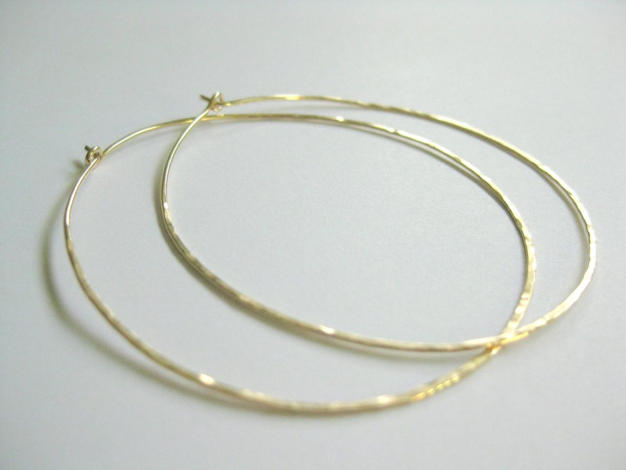 Thin Hammered Gold Hoop Earrings Large 14k Filled Hoops