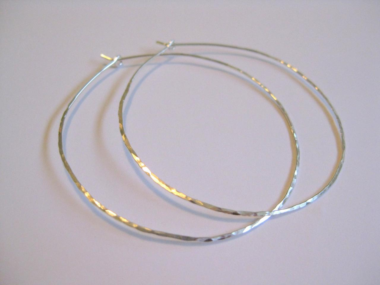 Silver Hammered Hoop Earrings Large Hoops
