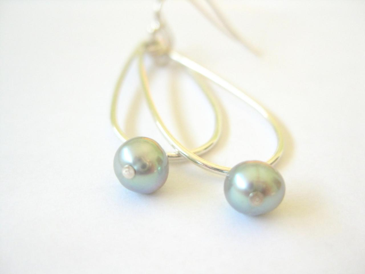 Grey pearl earrings, sterling silver teardrops, grey green freshwater pearls