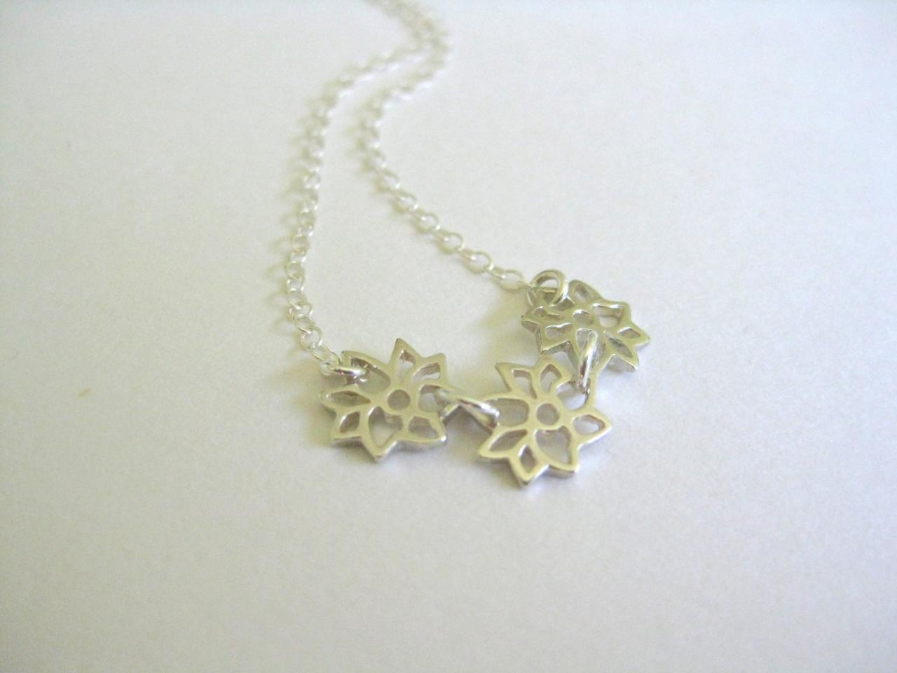 Silver flower choker necklace, dahlia flower necklace