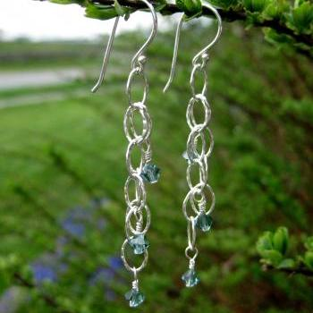 Long chain earrings, hammered chain with crystals, rain drop cascade