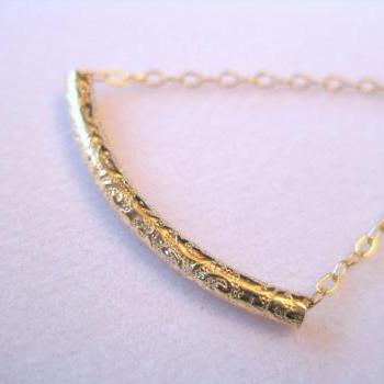 Gold tube necklace, patterned tube pendant necklace