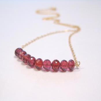 Garnet necklace, red gemstone necklace, January birthstone necklace