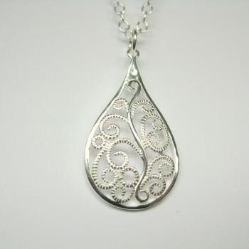 Filigree pendant necklace, sterling silver pendant necklace