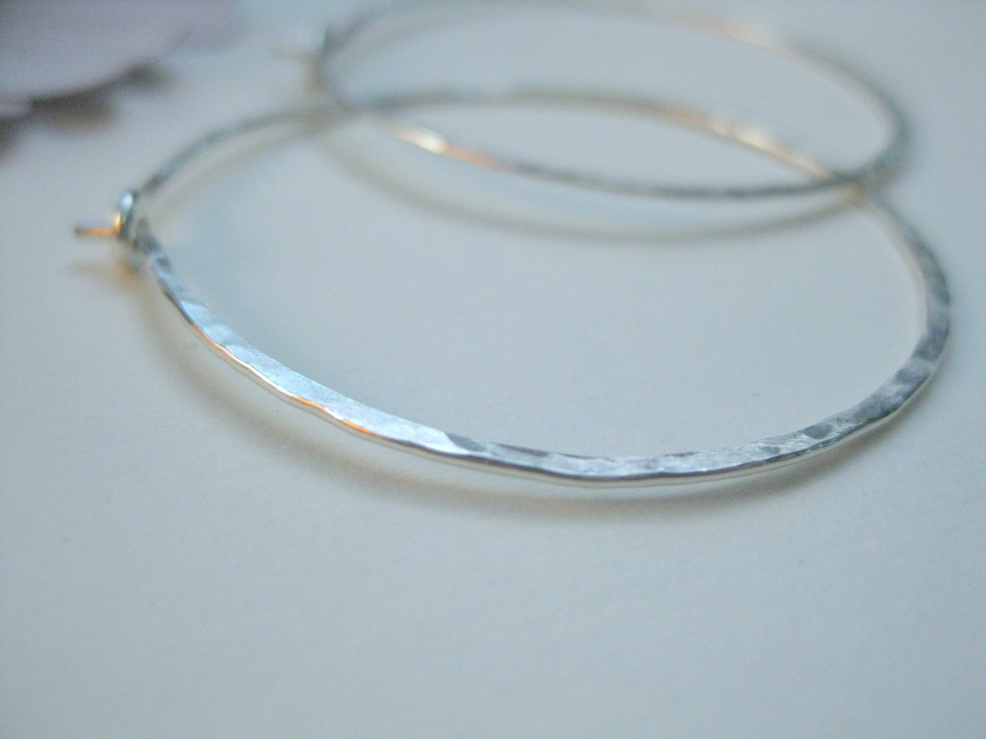 Hammered Sterling Hoop Earrings Silver Hoops On Luulla